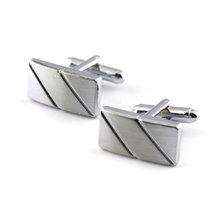 2016 New Simple Style silver Rectangle Cufflinks Mens Shirt Cuff Button Christmas Gifts for Men Laser Plating Cuff link gemelos(China)