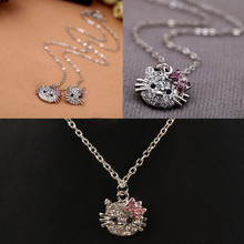 New Fashion Jewelry Women Exquisite Charm Necklace With Lovely Cat Head Pendant Decorated By Crystals NL-0212