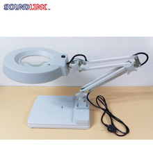 Bench Magnifier Folding Table Lamp 5X Ordinary Glass Lens Hearing Aids Repair Tool with LED Light Switch(China)