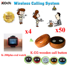 Wireless Restaurant Call Calling Waiter Server Paging Service System - Table Calling Watch & Button( 4 watch + 50 call button )
