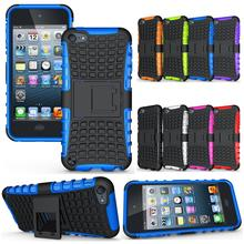 Cell Phone Case Protective Back Cover Durable Shockproof Rubber Armor Kickstand Hard Stand For Apple iPod Touch 5 Touch 6