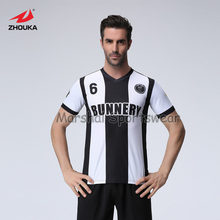 black and white stripes,100%polyester,top quality,fully sublimation custom soccer jersey,MOQ 5pcs,anyand color can be customized