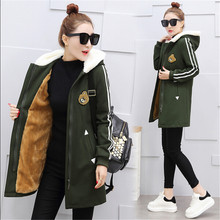 Fashion School uniforms High-grade Women basic coats dress 2017 Hooded zipper Lambs wool  Autumn Winter Students Coat BN1727