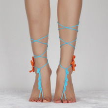 2016 New Cotton Crochet Circle,Bridal Barefoot Sandals Wedding Yoga anklets summer style Orange starfish anklets Women
