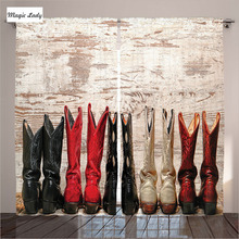 Curtains Country Style Living Room Bedroom American Cowgirl Leather Boots Rustic Art Beige Black Red 2 Panels Set 145*265 sm