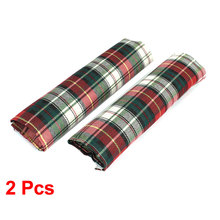 X Autohaux Pair Red Green Grid Pattern Car Safety Seat Belt Cover Shoulder Pad Sleeve(China)