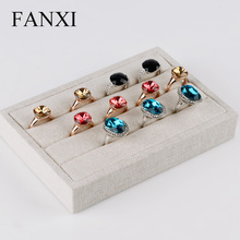 2016 FANXI the high-capacity jewelry finger ring tray display wrapped with linen fabric rack for counter as look pallets(China)