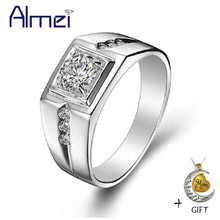 Almei 35% Men Ring Simulated Diamond Jewelry Mens 925 Sterling Silver Rings Crystal Men's Anillos Bijoux Bague with Stone J473