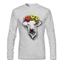 2017 Fashion Men's T-shirt Lucky One Brand Clothing Latest Tee Round Collar Long Sleeve 100 % Cotton Cheap Men t shirt(China)