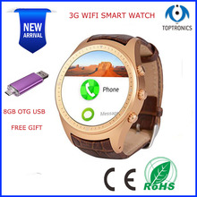 NEW ARRIVAL Free Shipping 3G WIFI GPS Smart Watch 1.2G Dual core 512MB RAM 4GB ROM Bluetooth SmartWatch with sim card USB GIFT