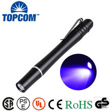 [Free Ship]3W uv light pen 2*AAA Battery Powered Metal Material Money Inspection LED UV Torch Light mini Pen flashlight 395nm
