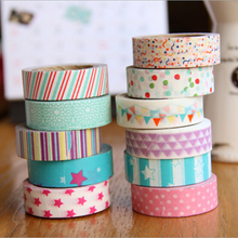 5pcs/lot [Flags]  Homemade Paper Tape Stickers 10m Small Volume DIY 5 Color Decorative Masking Tape Beautiful DIY Paper Tape