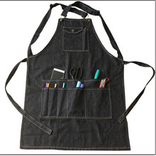 New Fashion black Cotton Denim Apron Funny Cooking Work Aprons With Pockets Strap For Men Women Barber Cafe Restaurant Unisex