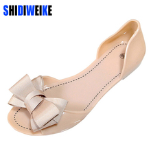 SHIDIWEIKE Women Jelly Sandals Beach Jelly Shoes Woman Summer Flip Flops Bowtie Slippers Slip On Flats Casual Women Shoes(China)