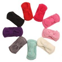Sweet Crochet Knitted Bow Turban Headwrap Hair Band Winter Ear Warmer Headband(China)