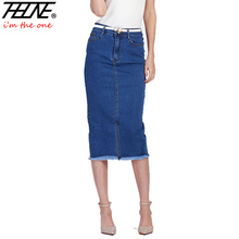 Brand Plus Size Denim Skirts Women Long Knee Length High Waist Cotton Elastic Slim Bodycon Fringe Midi Jeans Pencil Skirt Female