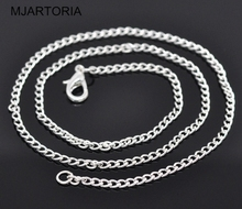 "2016 hot buy european and american Silver Plated Link Chain Necklaces 2x3mm  18"",12PCs"