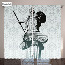 Curtains Made In Russia Sculpture Bedroom Statue Of Athena Historical Ancient Greek Mythology Grey Black Living Room 290*265 cm