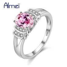 Almei Unusual Pink Blue Stones Rings Women's Jewelry Silver Color Ring for Women Fashion Wedding Accessories Bague Femme Y3310