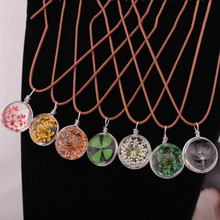 1 Pc Vintage Floating Locket Real Dried Dry Flowers Necklace Round  Pendant Glass Accessories