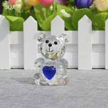 JQJ Crystal Glass Block Teddy Bear Figure with Blue Heart Fengshui Wedding Birthday Party Decoration Craft Kids Home Decor Gift