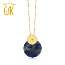 GemStoneKing Natural Blue Lapis 18K Yellow Gold Plated Silver Pendant Necklace With Round Yellow Diamond Accent