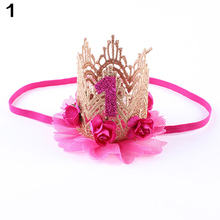 Baby Girl Infant Princess Queen Rose Crown Headband Headwear Hair Accessory