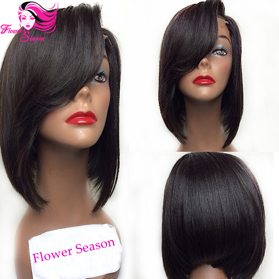 Fashion Short Full Lace Bob Wig With Bangs Virgin Brazilian Full Lace Front Human Hair Bob Wigs For Black Women<br><br>Aliexpress