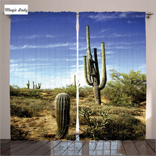 Insulated Curtains Living Room Bedroom Tall Saguaro Cactus Desert Plants Sunny Picture Blue Green 2 Panels Set 145*265 sm