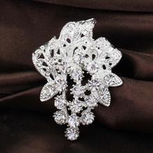 Exquisite Silver Plated Rhinestone Decoration Collar Pin Wedding Brooches Corsage Drop Shipping YBRH-0215