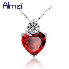 Almei 15%Off Heart Red Pendant Necklace Love Silver Color Women Necklaces Wedding Crystal Collares Populares Colar Jewerly 55641