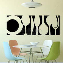 Art design Tableware Wall Sticker Home Decor DIY Kitchen Interior Mural Vinyl Dining Room Wall Decal Free shipping