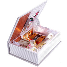 Assembly DIY Kit House Of Girlfriends Diary Dollhouse with Led Light,Novelty Book Model Wooden Doll House Assembling Toys Gift(China)