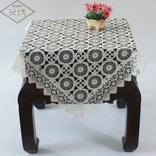 Free Shipping Square 100cm Organza Embroidery Polyester Lace White Wedding Tablecloth Table Cover