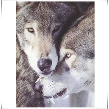 diamond painting Mosaic Love each double wolf needlework cross stitch Modern square rhinestone Brown hair Animal embroidery