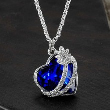 Rhinestones Inlaid Love Heart Women's Neckalces Navy Blue Crystal Heart of Ocean Pendant Necklace Jewelry Gift