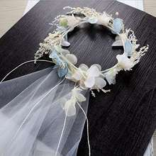 MHS.SUN bridal tiara flower crowns handmade chiffon flower veil hairband hair jewelry for wedding accessories for women HX060