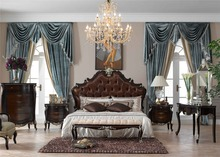 natural wooden color classic italian style provincial  bedroom furniture set 0402-A007