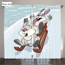 Curtains Baby Room Decor Collection Bunny Winter Sled Kids Cartoon Art Print Blue White Orange Gray 2 Panels Set 145*265 sm Home