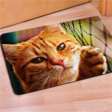 Cat doormat 3D dog printed funny front door entrance Rubber Mat ainmal Carpet Tapete For Bedroom Kitchen 40*60cm rug home decor(China)