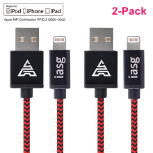 2PCS [MFi Certified] IASG 1M for Lightning to USB Cable Braided Charging Long Cord with Metal USB Casing for iPhone 7 6s 6 5s SE