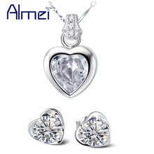 Almei Sale Bijoux Colar e brincos conjuntos,Women Accessories Set,Jewellery Silver Lady Purple White Crystal Jewellery Sets,N288