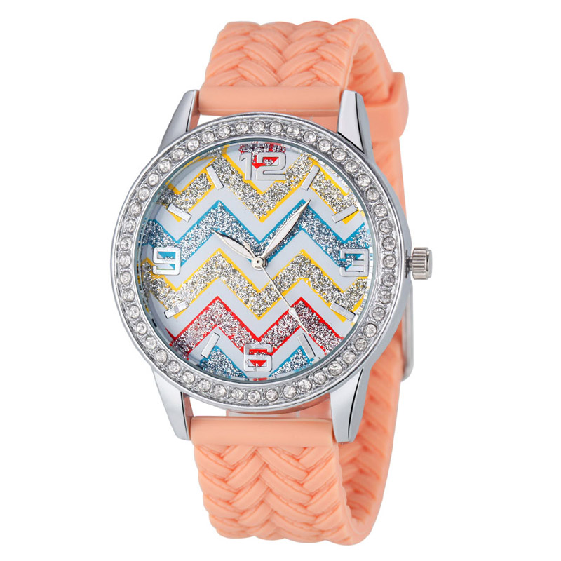 Luxury Fashion Rhinestone Colorful Rainbow Wave Shape Silicone Twists Band Popular Women Quartz Watches (WJ-2830-2)<br><br>Aliexpress