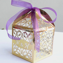 50pcs, Personalized Gold & silver Wedding Party Favors Door Gift Box Event Party Supplies Candy Box(China)