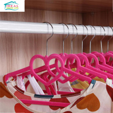 2 pcs Heart Shaped Velvet Non-Slip Thin Clothes Clothing Hangers Space Save Closet Storage Helper Household High Quality