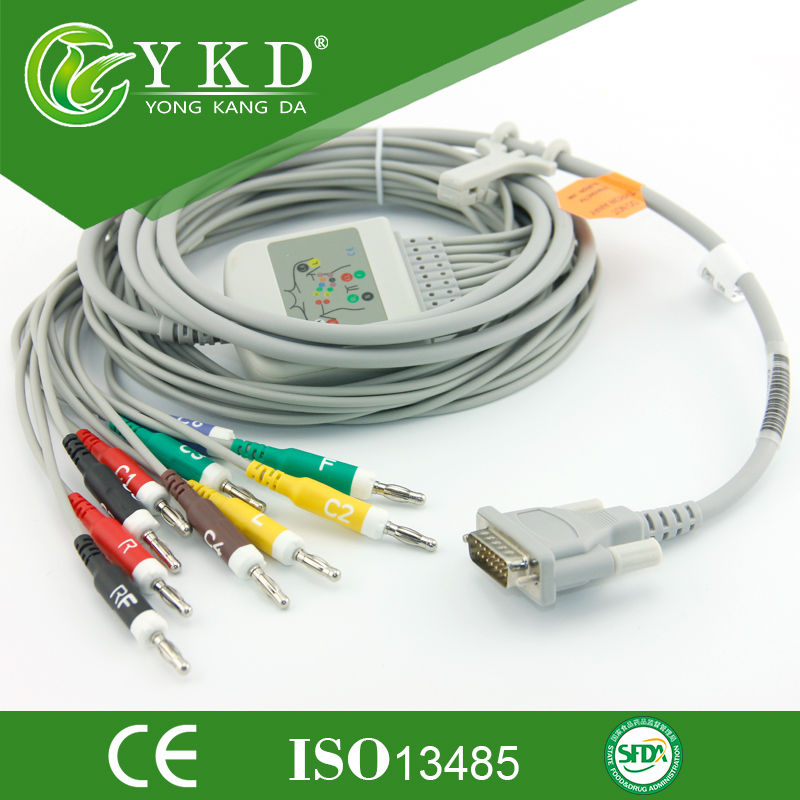 Compatible for Electrocardiograph 10-lead Schiller AT-1 EKG cable,IEC,Banana 4.0 mm ,10k resistance<br>