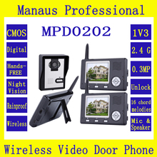 Wireless Video Intercom System Color Video Doorphone Three 3.5 Inch Display Screens&One Outdoor Waterproof Security Camera D202b