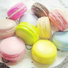 1Pc Color Random Kawaii Soft Dessert Macaron Squishy Charms Relieve Stress Toy