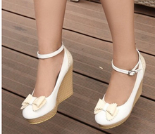 Women's Fashion Mary Jane Wedges High Heels Korean White Beige version buckle waterproof bow custom Plus Big Size 40-43 New