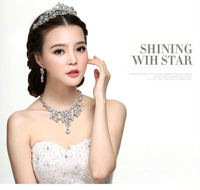 2017 more style  Bridal Wedding Jewelry Set Rhinestone Tiara Crown Necklace Earrings (14)